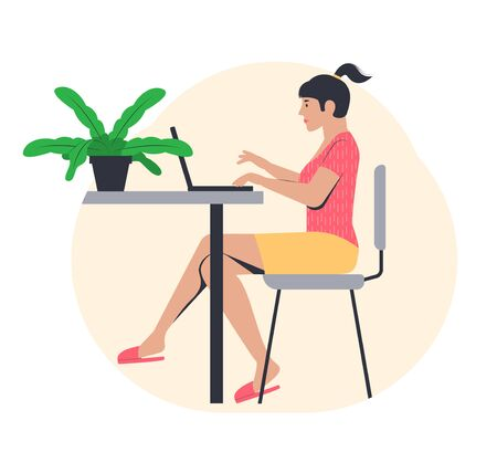 Freelance work concept. Young girl working from home. Freelancer in a comfortable pose on the couch. Vector illustration