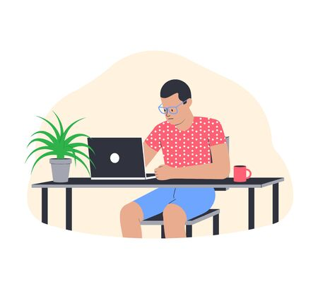 Freelance work concept. Young man working from home. Freelancer in comfortable conditions. Vector illustration