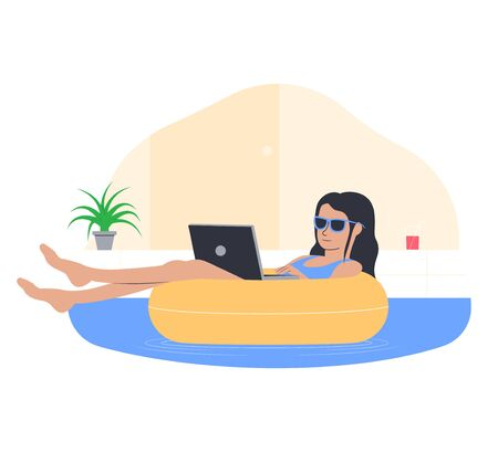 Freelance work concept. Young girl working from home. Freelancer in a comfortable pose in the pool. Vector illustration