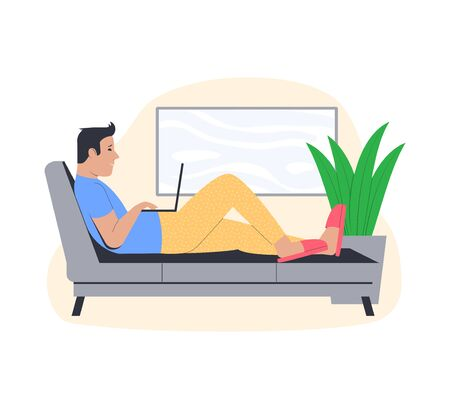 Freelance work concept. Young man working from home. Freelancer in a comfortable pose on the couch. Vector illustration