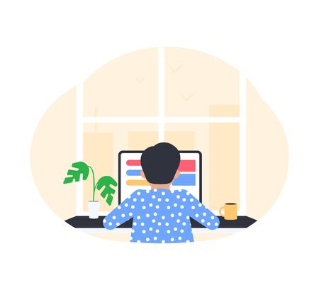 Freelance work concept. Young man working from home. Freelance at home. Vector illustration