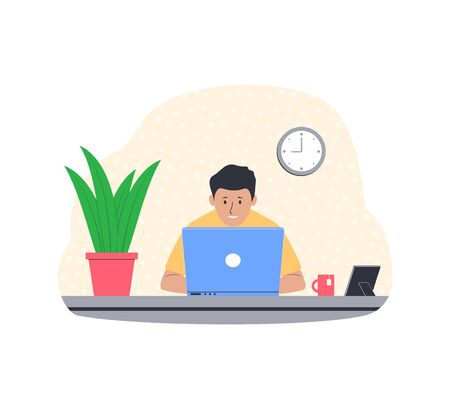 Freelance work concept. Young man working from home. Freelancer at his workplace. Vector illustration