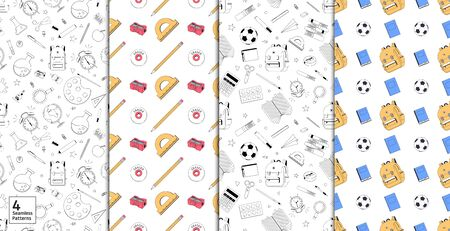 Back to school. Set of seamless patterns. School patterns for print or web. Vector illustration