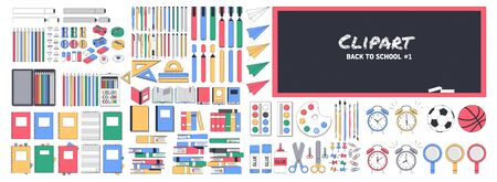 Big school clipart number one. Back to school. Supplies Set. A set of school supplies to create your own composition. Can be used for printing and web.Vector illustration
