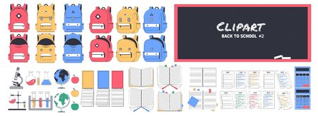 Big school clipart number two. Back to school. Supplies Set. A set of school supplies to create your own composition. Can be used for printing and web.Vector illustration