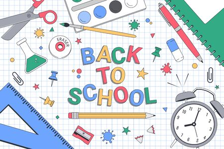Back to school. School banner template for print or web. Vector illustration