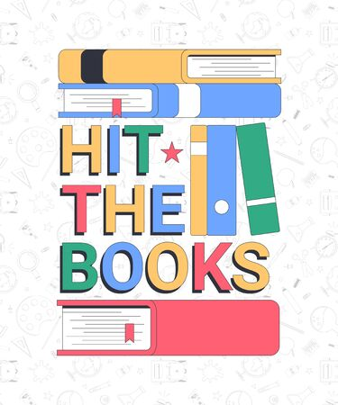 Back to school. Hit the books. School banner template with typographic elements. Vector illustration