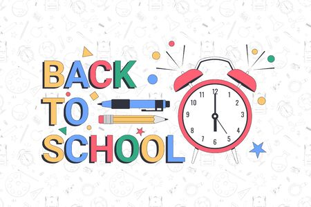 Back to school. School banner template with typographic elements. Vector illustration 向量圖像