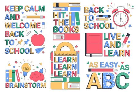 Back to school. Learn. Set of illustrations with typographic elements. Vector illustration Vectores