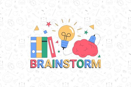 Back to school. Brainstorm. School banner template with typographic elements. Vector illustration 向量圖像