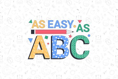 Back to school. AS easy as ABC. School banner template with typographic elements. Vector illustration