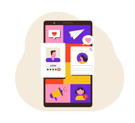 Social Media Concept illustration. People communicate on social networks. Love in network. Modern style vector illustration.