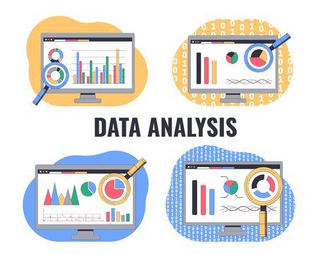 Data analysis, Digital analytics, market research. Vector illustration
