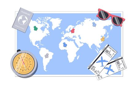 Travel concept. Around the world. World map with destination points. Vector illustration