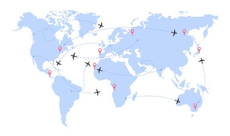 International flights. World map with airline routes. Silhouette of world map with icons of airplanes. Dotted line air path. Vector illustration