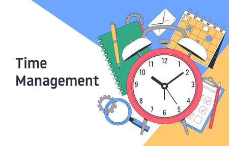 Time management. Planning and strategy. Tools for Effective Time Management. Vector illustration Vectores