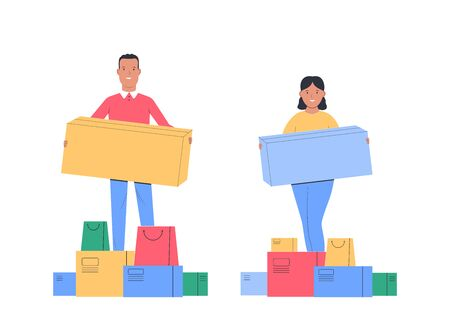 Shopping. Happy Man and woman with a purchases in his hands. Young man and girl with boxes. Black Friday Sale. Vector illustration Vectores