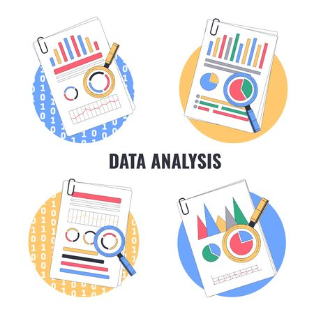 Data analysis, audit, market research. Data Reports and Magnifier. Vector illustration.