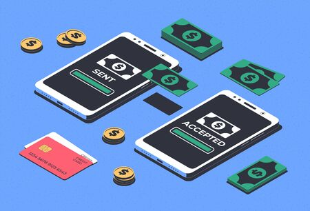 Online money transfer concept. Financial transactions, mobile payment. Isometric Smartphone, money and credit card. Vector illustration
