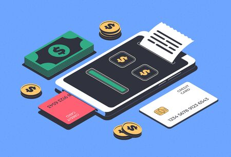 Online payment concept. Financial transactions, mobile payment. Isometric Smartphone, money and credit card. Vector illustration