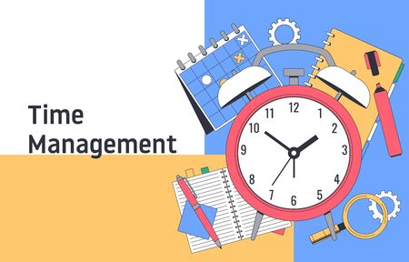 Time management. Planning and strategy. Tools for Effective Time Management. Flat Vector illustration