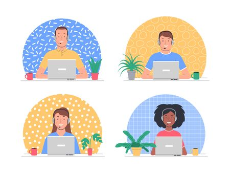 Call center. Smiling telephone operators with headsets. Customer support, client service, user support. Vector illustration