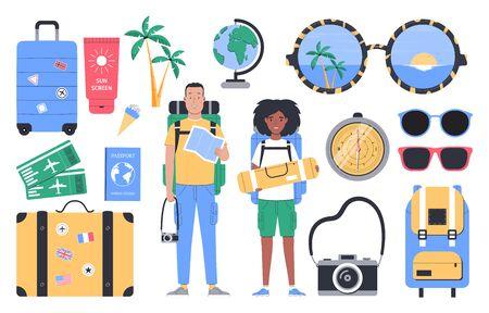 Travel, tourism, summer vacation. Set of flat vector illustration isolated on white background.