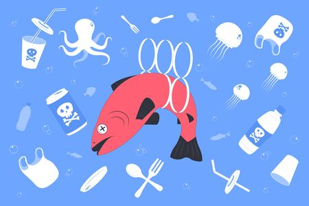 Stop water pollution. Plastic waste in ocean. Dead fish swimming in water full of garbage. Flat vector Illustration.