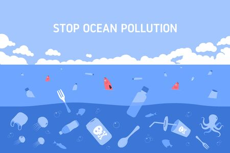 Plastic waste in ocean. Dead fish swimming in water full of garbage. Water pollution. Flat vector Illustration.