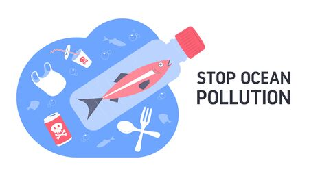 Stop water pollution. Dead fish swimming in water full of garbage. Plastic waste in ocean. Flat vector Illustration.