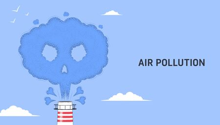 Air pollution. Smoke from a factory chimney in the form of a skull with bones. The concept of environmental pollution. Flat vector illustration