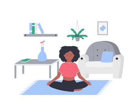 Meditating woman with closed eyes vector flat illustration. Young girl sitting in lotus position at home isolated on white.