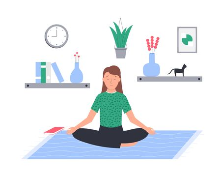Meditating woman with closed eyes isolated on white. Young girl sitting in lotus position at home vector flat illustration. Vectores