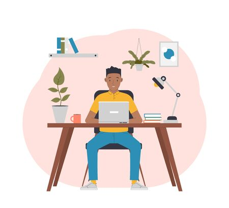Freelance work in comfortable conditions. Man working from home. Flat vector illustration
