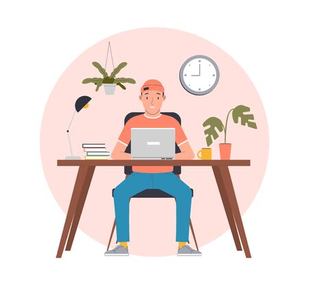 Man working from home. Freelance work in comfortable conditions. Flat vector illustration Vectores