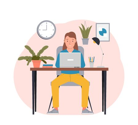 Freelance work in comfortable conditions. Woman working from home. Flat vector illustration