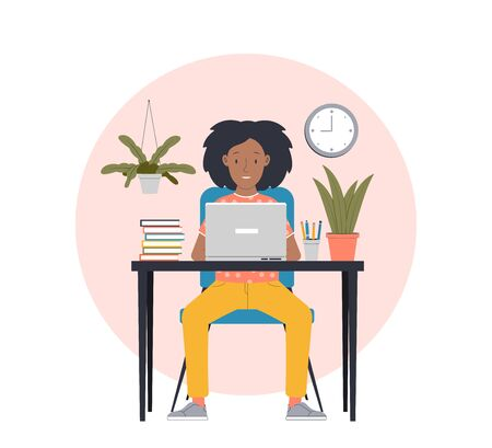 Woman working from home. Freelance work in comfortable conditions. Flat vector illustration