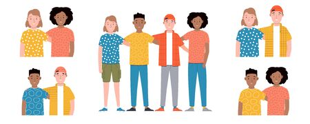 Group of smiling boys and girls are standing together and hugging. Friendship day. Happy students isolated on white background. Group photo. Set of flat cartoon vector illustration.