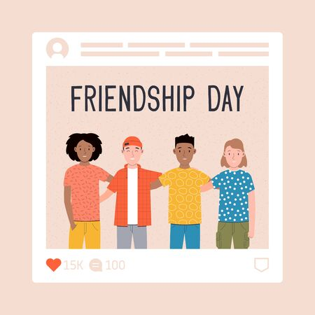Happy friendship day. Group of friends hugging together. Social network photo with a group of people. Flat vector illustration Banque d'images - 149593696