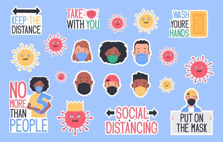 Set of CoronaVirus Covid-19 letterings and other elements. Behavior of people after removal of self-isolation. Calls to Action. Vector illustration