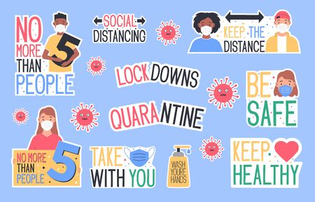 Set of CoronaVirus Covid-19 letterings and other elements. Behavior of people after removal of self-isolation. Vector illustration
