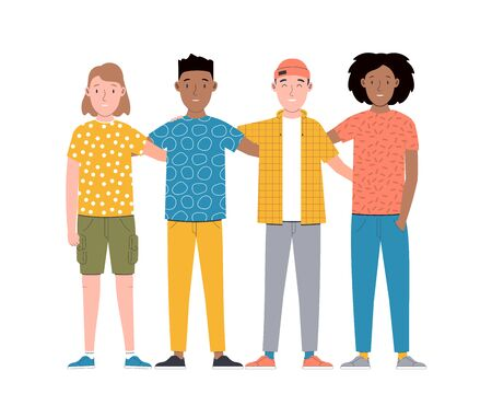 Group of smiling boys and girls are standing together and hugging. Friendship day. Happy students isolated on white background. Flat cartoon vector illustration.