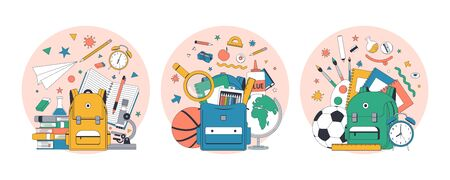 Back to school. Set of school flat illustration. Vector illustration