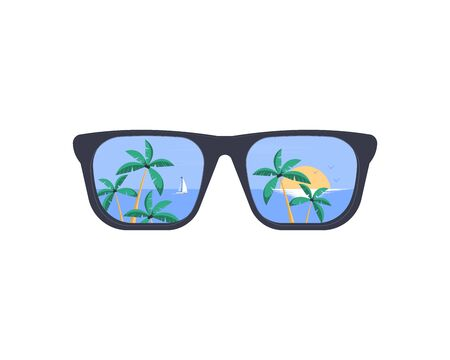 Summer holiday and vacation. Summer Sunglasses. The beach and the tropical sea with the setting sun are reflected in the sunglasses. Vector flat illustration. Vectores