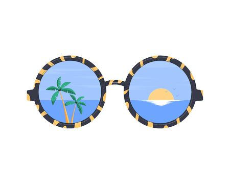 Sunglasses. Summer holiday and vacation. The beach and the tropical sea with the setting sun are reflected in the sunglasses. Vector flat illustration.