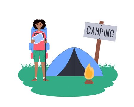 Local travel. Woman is resting in a tent while hiking. Traveler in camping isolated on white. Vector flat illustration.