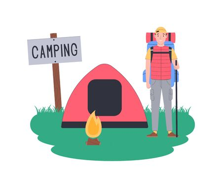 Local travel. Rest in a tent while hiking. Traveler in camping isolated on white. Vector flat illustration.