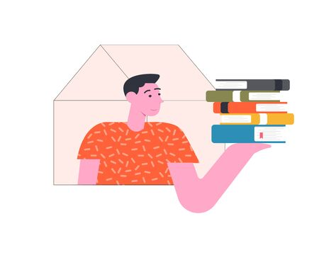 Quarantine isolation. Man is reading a book at home. Stay at home. Vector flat illustration.