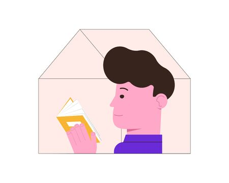 Man is reading a book at home. Quarantine isolation. Stay at home. Vector flat illustration.