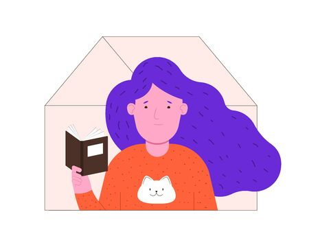 Quarantine isolation. Woman is reading a book at home. Stay at home. Vector flat illustration.